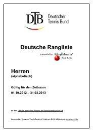 Deutsche Rangliste Herren - Deutscher Tennis Bund