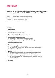 Protokoll der 85. Generalversammlung der Raiffeisenbank Sulgen ...