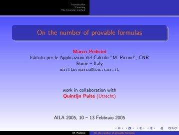 On the number of provable formulas - Istituto per le Applicazioni del ...