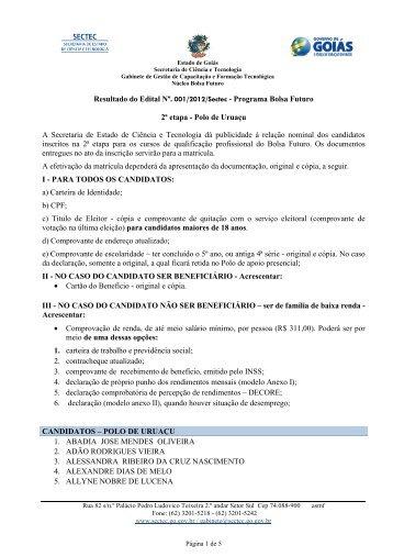 Classificados Edital 2 Uruaçu - Sectec