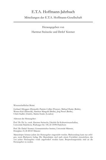 E. T. A. Hoffmann-Jahrbuch 2008 - Erich Schmidt Verlag