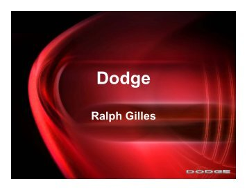 Business Plan: Presentation 1 - Dodge Brand - Chrysler Group LLC