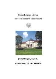 INDEX SEMINUM - Hohenheimer Gärten - Universität Hohenheim