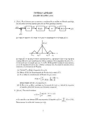 Sistemas ineales ExamEn dE EnERo 2004 1. (2 pt.) En el sistema ...