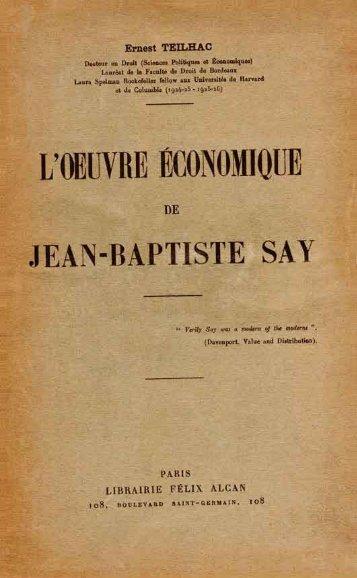 L'oeuvre de Jean-Baptiste Say - Institut Coppet