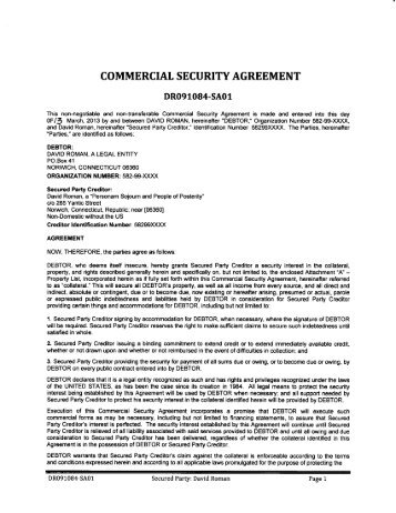 13 copy of agreement deb commercial security agreement national republic registry platinumwayz