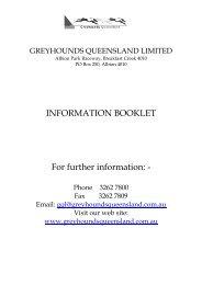 INFORMATION BOOKLET For further information: - - Greyhounds ...