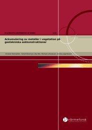 Värmforsk rapport 1222, 2012, Kristian Hemström, Torleif Bramryd ...