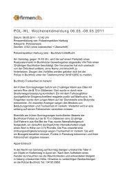 POL-WL: Wochenendmeldung 06.05.-08.05.2011 - Firmendb
