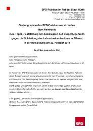 Stellungnahme der SPD zum Bürgerentscheid - SPD Ortsverein Hürth