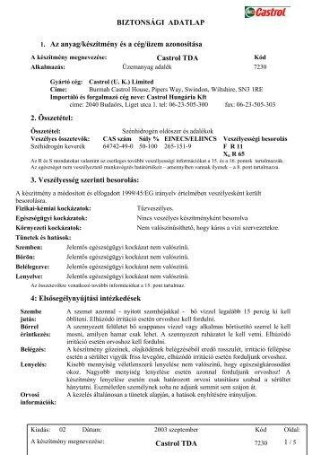 BIZTONSÁGI ADATLAP 1. Az anyag/készítmény és a ... - Szakál Met-Al