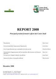 Report 2008 - principali prodotti formativi offerti ... - Centro Studi Cisl