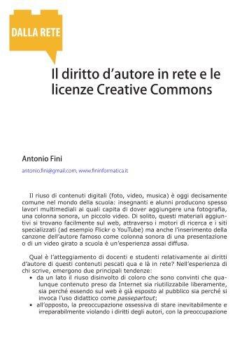 Il diritto d'autore in rete e le licenze Creative Commons
