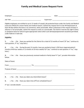 Medical Leave Form The Form Below Is Provided As An Example Only