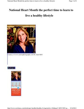 live a healthy lifestyle National Heart Month the ... - Dr. Janet Brill