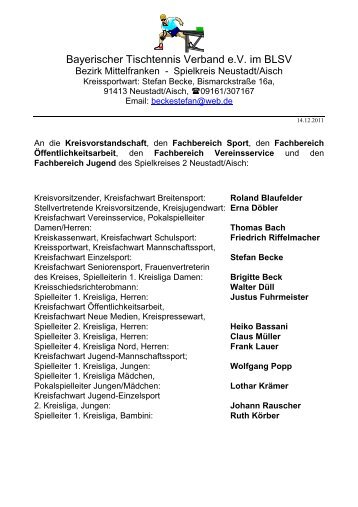 Bayerischer Tischtennis Verband e.V. im BLSV - Neustadt/Aisch