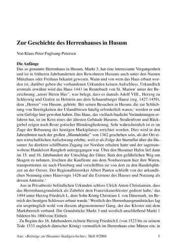 Zur Geschichte des Herrenhauses in Husum - Husum-Stadtgeschichte