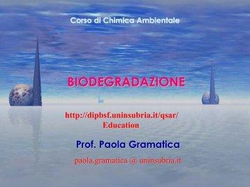 Biodegradazione - Università dell'Insubria