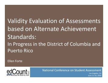 Validity Evaluation of Assessments based on Alternate ... - NAAC