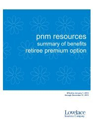 Retiree Premium Option Benefit Summary - Lovelace Health Plan