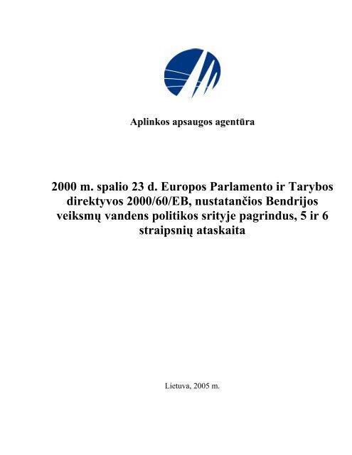 2000 m. spalio 23 d. Europos Parlamento ir Tarybos direktyvos 2000 ...
