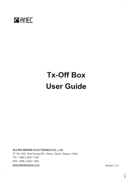 Product manual for AMEC Tx-Off Switch Box - Milltech Marine