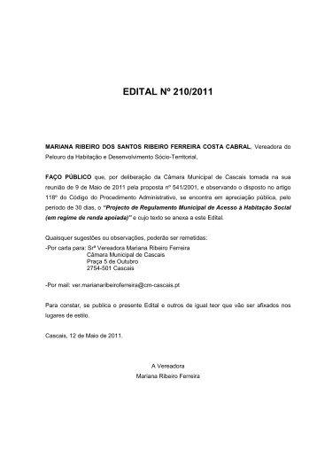 Regulamento Municipal de acesso à Habitação Social. - Câmara ...