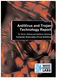AntiVirus and Trojan Technology Report - West Coast Labs