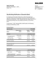 Stockholding Notification of Deutsche Bank