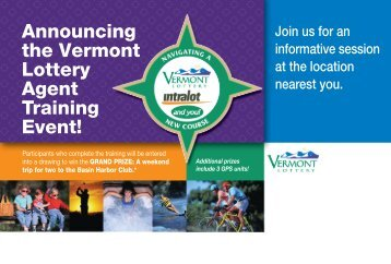 Announcing Join us for an - Vermont Lottery