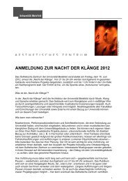 anmeldung zur nacht der klänge 2012 - Universität Bielefeld