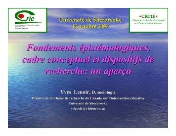 Fondements épistémologiques, cadre conceptuel et dispositifs de ...