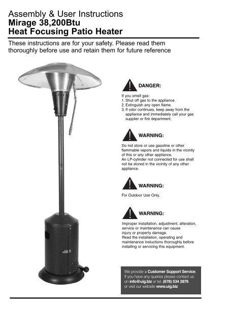 sc 1 st  Yumpu & Mirage 38200Btu Heat Focusing Patio Heater - Home Depot