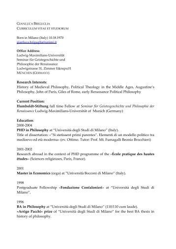 Research Interests - Seminar für Geistesgeschichte und Philosophie ...