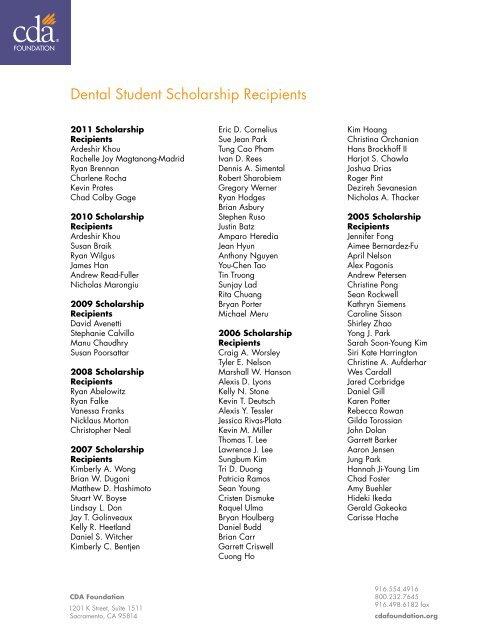 Dental Student Scholarship Recipients - CDA Foundation