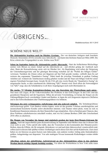 Newsletter vom 06. November 2010 - TOP-Investment GmbH