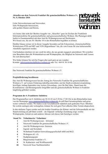 Nr.9 Oktober - Netzwerk Frankfurt für gemeinschaftliches Wohnen eV
