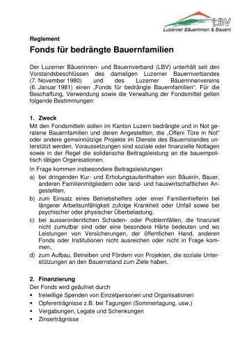 Fonds für bedrängte Bauernfamilien - Luzerner Bäuerinnen