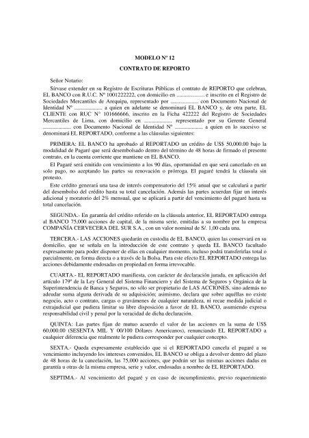 Modelo N⺠12 Contrato De Reporto Seã Or Notario Sãrvase