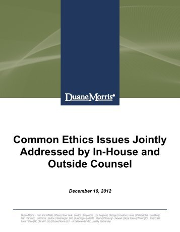Common Ethics Issues Jointly Addressed by In ... - Duane Morris LLP