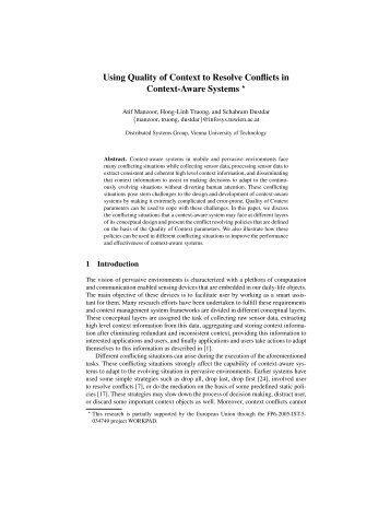 Using Quality of Context to Resolve Conflicts in - Distributed ...
