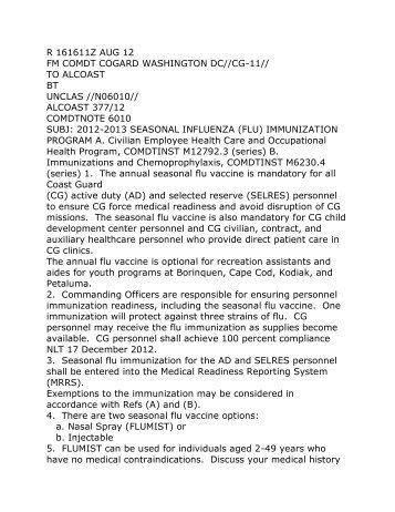 2012-2013 SEASONAL INFLUENZA (FLU) IMMUNIZATION ...