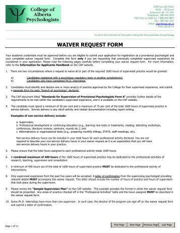 WAIVER REQUEST FORM   College Of Alberta Psychologists