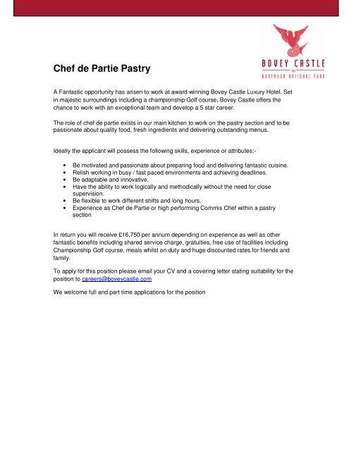 Chef De Partie Pastry Bovey Castle