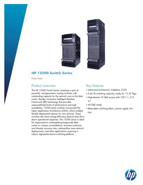 HP 12500 Switch Series Product overview Key     - HP Networking