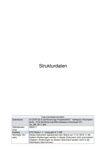 Strukturdaten Hirschparkklinik - KTQ