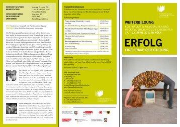 Flyer Weiterbildung - IFFF Dortmund| Köln