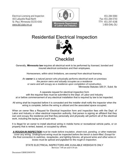 Residential Electrical Inspection Checklist