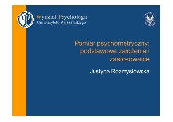 Zajęcia 1 - Wydział Psychologii Uniwersytetu Warszawskiego
