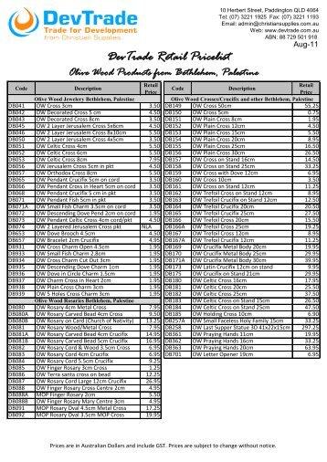 DevTrade Retail Pricelist - Christian Supplies